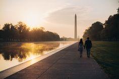 Washington DC National Mall Washington Monument Sunrise Engagement Photographer