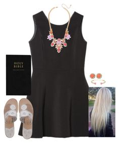 """""""What I wore to church today"""" by kaley-ii ❤ liked on Polyvore featuring Jeweliq, Jack Rogers, Kendra Scott and Kate Spade"""