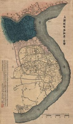 Antique Map of Shanghai, 1884