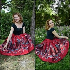 Another one with this #jennyskirt-beauty! #nofilter #pinupgirlclothing #pug #thepinupsociety #pinup #vintageinspired #vintage #pincurls #pinuphair #gingerhair #ginger #redlipstick #redlips #walkinthepark