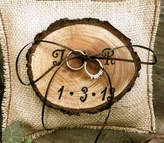 Rustic wedding ring bearer pillow holder forest country fall winter weddings. $26.00, via Etsy.