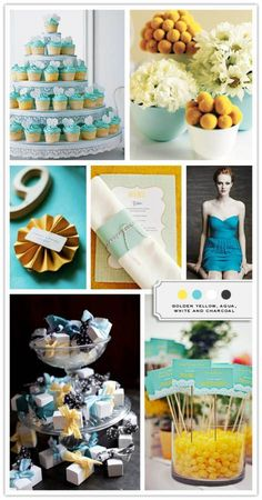 Color Palette: Golden Yellow, Aqua, White, And Charcoal - Inspired Bride