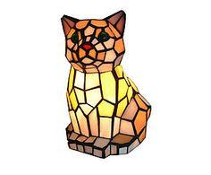 Lampada da tavolo stile Tiffany in vetro e metallo Cat - H 22 cm