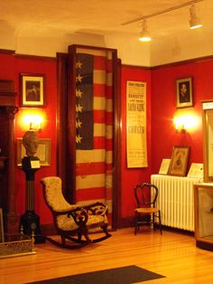 Blood splattered flag (authenticated) that was place under Lincoln's head following his assassination in Ford's Theater. Flag is located at The Columns in Milford, Pa.
