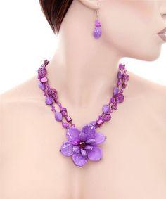 Purple Hawaiian Flower Fashion Necklace Set $13.99