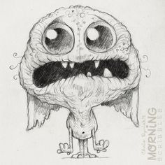 makes monsters and stuff Cute Monsters Drawings, Weird Drawings, Sweet Drawings, Cartoon Monsters, Little Monsters, Cartoon Drawings, Animal Drawings, Doodle Monster, Monster Drawing