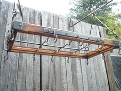 Kitchen Hanger / Pot Rack Rustic Style and by Industriana on Etsy Rustic Ladder, Wooden Ladder, Pot Rack Hanging, Hanging Pots, Vintage Industrial Furniture, Rustic Industrial, Rustic Pot Racks, Mountain Cabin Decor, Objets Antiques