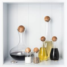 Our ultimate contemporary, yet classic, oak collection. This stunning collection features for the first time our complete oak stoppered glass White Wine, Red Wine, Water Carafe, Olive Oil And Vinegar, Cleaning Kit, Kitchen Essentials, Glass Collection, Wine Decanter, Kitchen Accessories