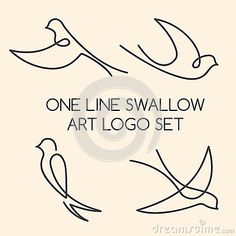 one line tattoo One line swallow art logo set vector Bird Drawings, Easy Drawings, Tattoo Drawings, One Line Tattoo, Line Tattoos, Tatoos, Phenix Tattoo, One Line Animals, Swallow Bird Tattoos
