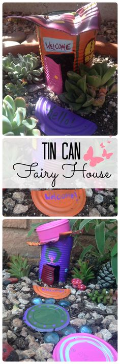 Save those tin cans! Create your garden's cutest, custom fairy house from a tin can using wire snips and outdoor craft paint. Welcome fairies to your garden today and watch your flowers bloom! Fairy Houses Kids, Fairy Garden Houses, Gnome Garden, Fairy Gardens, Fairies Garden, Tin Can Crafts, Kids Crafts, Bottle Garden, Glass Garden