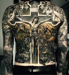 100 Religious Tattoos For Men Sacred Design Ideas Hi Here we have nice picture about jesus tattoo designs on back. We wish these photos can. Badass Tattoos, New Tattoos, Body Art Tattoos, Sleeve Tattoos, Faith Tattoos, Tatoos, Crazy Tattoos, Awesome Tattoos, Religious Tattoos For Men