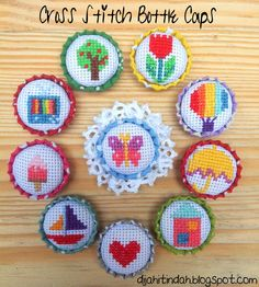 Cross stitch Bottle cap