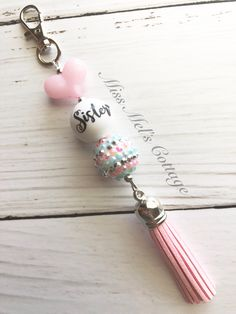 Sister Love Chunky Bubblegum Beads Zipper Bag Charm with accent tassel/purse/backpack/keychain accent by MissMelsCottage on Etsy