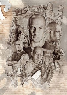 Vin diesel by NachoCastro on DeviantArt Collage Drawing, Drawing Sketches, Art Drawings, Vin Diesel, Caricatures, Cinema Tv, Cinema Movies, Conceptual Drawing, Movie Poster Art