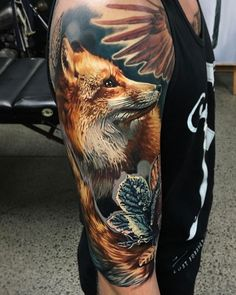 Fox & Frozen Rose by Ben Kaye, artist and co-owner at Ship Shape Tattoo in Auckland, New Zealand. Rose Tattoos, Girl Tattoos, Tattoos For Women, Tattoo Designs For Girls, Tattoo Designs Men, Frozen Rose, Shape Tattoo, Beautiful Blue Eyes, Picture Tattoos