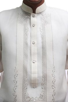 This Barong is one of the most enduring popular styles for any formal occasion. Fabric: Jusi (Silk) Collar: Chinese (Mandarin) collar Design: U-embroidery Special Feature: precise and intricate…More Barong Tagalog Wedding, Barong Wedding, Filipiniana Wedding, Wedding Groom, Custom Wedding Gifts, Personalized Wedding Gifts, Wedding Day Shirts, Filipino Wedding, Top Wedding Trends
