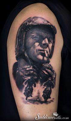 Portrait of Steve Mcqueen and motos tattoo
