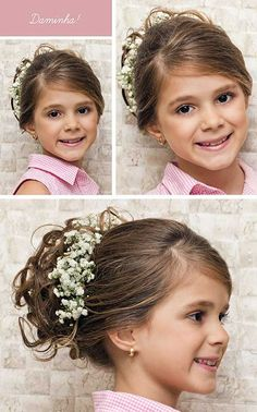 penteado preso pra daminha bonita Easy Toddler Hairstyles, Flower Girl Hairstyles, Little Girl Hairstyles, Bride Hairstyles, Flower Girl Updo, Bridesmade Hair, Communion Hairstyles, Girls Updo, Pageant Hair