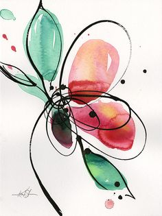"Abstract Flower Watercolor Ink Painting, Minimalistic Floral art, Blooms, Pink,Poppy, Poppies, art ""Ecstasy Bloom 2"" Kathy Morton Stanion"