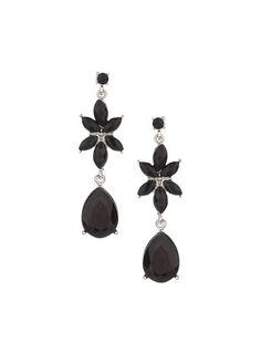 Black Flower Drop Earing