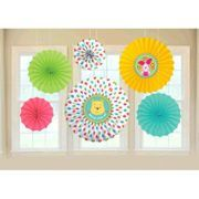 """Amscan Baby Shower Party Decoration Cuddly Winnie the Pooh Paper Fans, 13 x 11"""", Multi"""