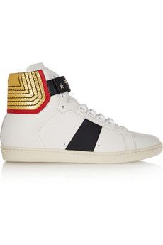 Saint Laurent Court Classic paneled leather high-top sneakers | NET-A-PORTER