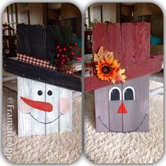 Favorite wood project I've made so far out of pallet wood. Snowman on one side and a scarecrow on the other!