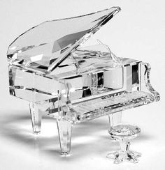 Swarovski Crystal Grand Piano w/stool. Swarovski Crystal Figurines, Swarovski Crystals, Cut Glass, Glass Art, Lila Baby, Cristal Art, Glass Figurines, Grand Piano, Crystal Collection