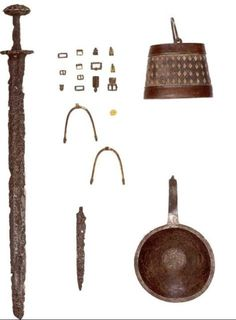 Croatian military equipment of IX century, bucket for water, pan, combat knife and a pair of spurs