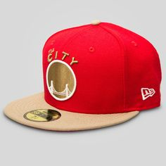 0e8f8014b52 Authentic New Era 59FIFTY Fitted Ball Cap in Khaki   Red - 100% Wool -