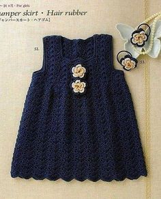 Navy blue crochet baby dress. More Great Looks Like This