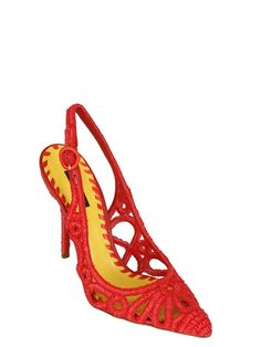 Dolce and Gabbana 110MM BELLUCCI RAFFIA SLING BACK PUMPS