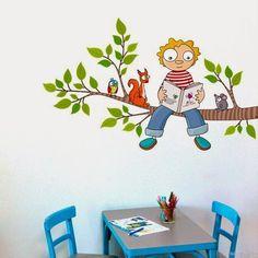 baby + reading + with + ardilla. Graffiti Wall Art, Mural Wall Art, Murals For Kids, Art For Kids, Boys Room Decor, Kids Room, School Murals, School Painting, Bedroom Murals