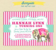 Vintage Style Circus Birthday Pink Elephant Invitation - Girls - Printed Invites