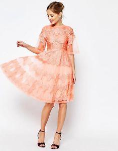SALON-Lace-And-Organza-Midi-Dress-Coral
