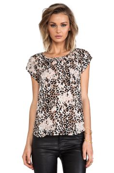 Joie Rancher Leopard Print Silk Tee in Caviar from REVOLVEclothing