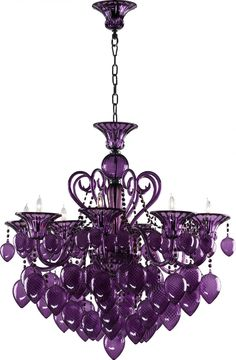 Home Interior, The Attractiveness of Eggplant Color for your Room: Eggplant Color Crystal Chandelier Photo