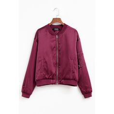 Yoins Burgundy Pockets Zipper Front Bomber Jacket (520.495 IDR) ❤ liked on Polyvore featuring outerwear, jackets, yoins, burgundy, flight jacket, bomber jacket, bomber style jacket, puffer jacket and burgundy jacket