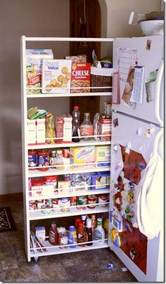 Great tutorial for Pull-Out Pantry....would be awesome next to our fridge if it had a thin side on it.