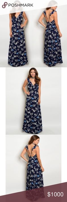 COMING SOON! Navy with Ruffles Flowers Maxi Dress COMING SOON! Navy with Ruffles Flowers Maxi Dress and Cross Cross Open Back. Fabric 100% Polyester. Please like post to be notified when Dress arrives. No Trades. Price is Firm Unless Bundled. GlamVault Dresses Maxi