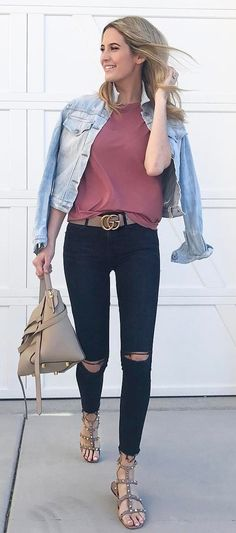 casual style outfit jacket + top + bag + rips