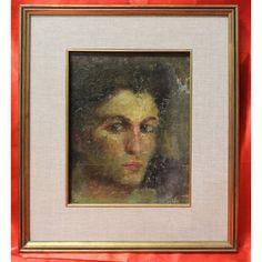 Dipinto olio su cartone raffigurante ritratto di giovane donna realizzato nei primi del '900, anonimo.