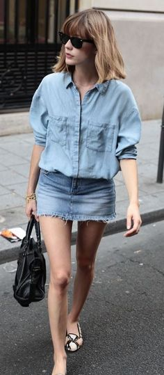 simple outfit idea_bag + denim shirt + skirt + loafers