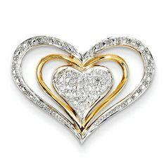 14K Diamond Triple Heart Slide Pendant