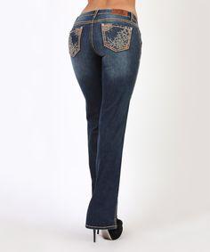 This Adiktd Dark Wash Flower Works Bootcut Jeans by Adiktd is perfect! #zulilyfinds