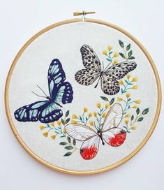 Butterfly Trio 🦋🌿🦋... Available in my Shop tomorrow, Sunday 25th March 6pm GMT...#embroidery #embroideryinstaguild#embroiderydesign #embroideryart #embroideryhoop #embroideryartist #hoopart #threadart #needlework #etsyshop #etsy #illustration #dmcthreads #dmcembroidery #dmcraft #stitchersofig #embroiderersofig #stitching #handmade #homemade #makersgonnamake #modernembroidery #contemporaryembroidery #nicegirlsneedleclub #butterfly #broderie #craftsposure #stitchersgonnast