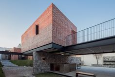 Images by César Béjar. Casa G is a family rest house, with a game room and a terrace to host the owner's social activities, located in the northwest area of Zapopan, on a. Brick Architecture, Residential Architecture, Amazing Architecture, Simple House Plans, Outdoor Steps, Rest House, Brick Patterns, Architect House, Mid Century Design