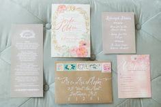 Wedding Invitations from Julie Song Ink | LOVE her artwork! Photography: L Hewitt Photography