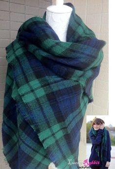 Bloggers Soft Black Watch Green Large Tartan Checked Plaid Scarf Shawl Wrap Cape #Unbranded #ShawlWrap