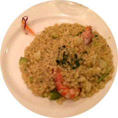 Delicious food in captured with fregola broccoli e gamberoni Delicious Food, Broccoli, Risotto, Grains, Rice, 3d, Ethnic Recipes, Yummy Food, Seeds